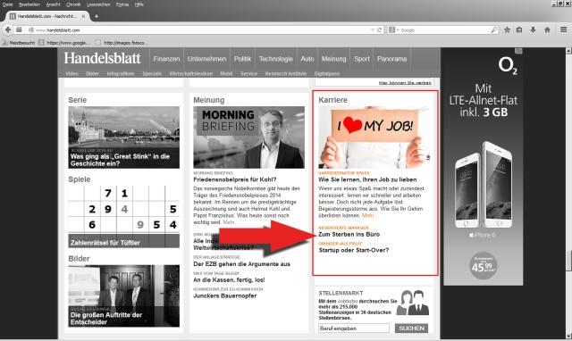 Handelsblatt Online 10.9.2014 Screenshot 1