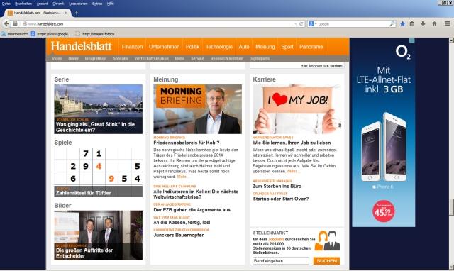 Handelsblatt Online 10.9.2014 Screenshot