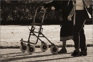 Well Accompanied© Liz Collet,gehhilfe, rollator, stützen, spazieren, gehen, begleitung, erwachsener, gemeinsam, schutz, beschützen, geborgenheit, sorge, pflege, halt, mobilität, wärme, nähe, hilfe, betreuung, altenpflege, krankheit, familie, hand, gesellschaft