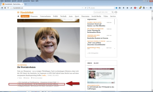 Handelsblatt Online Screenshot 14122015